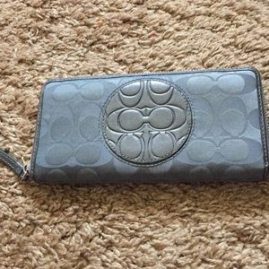 Coach Embossed all around zip wallet, grey